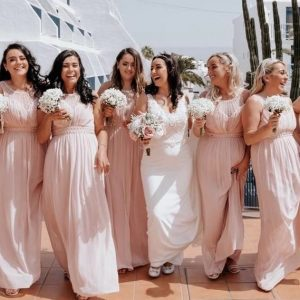 pink blush bridesmaids