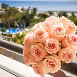Pale Peach Roses & Diamantes