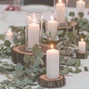 Candles on log slice